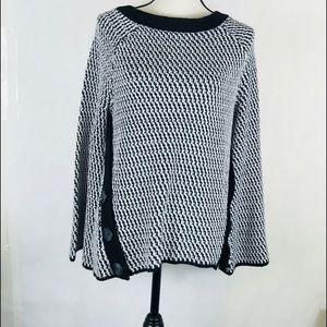 Loft boat neck sweater Sz S black white textured